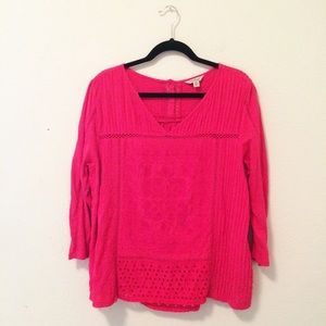 Lucky pink embroidered crochet top